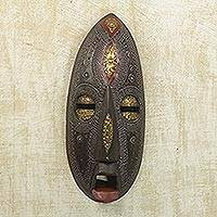 Ghanaian wood mask, 'Be Faithful' - Unique African Wood Mask