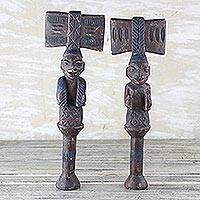 Wood sculptures, 'Yoruba Truth' (pair) - Hand Carved Wood Sculpture (Pair)