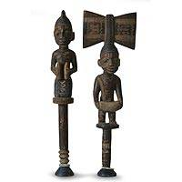 Wood sculptures, 'Yoruba Justice' (pair) - Hand Made Cultural Wood Sculpture (Pair)