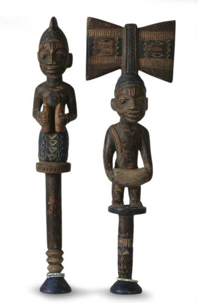 Hand Made Cultural Wood Sculpture (Pair)