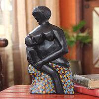Wood sculpture, 'I Love You My Child' (Ghana)