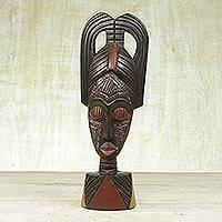 Africa wood mask, 'Peace' - Africa wood mask