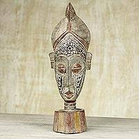 African wood mask, 'Sympathy Smile' - Africa wood mask