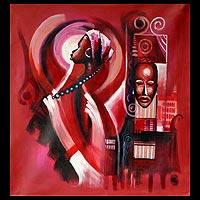 'Beautiful Woman' - Original African Portrait Painting