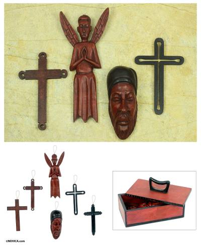Wood ornaments, 'African Christmas' (set of 6) - Wood ornaments (Set of 6)