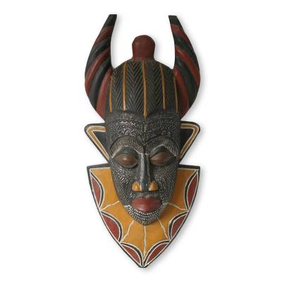 Artisan Crafted Black and Yellow Wood and Aluminum Wall Mask