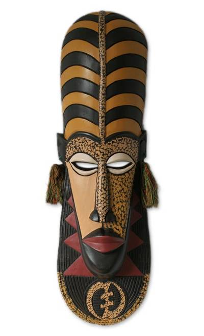 African wood mask, 'Ashanti Wisdom' - Unique African Wood Mask