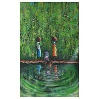 'At the Stream' - Expressionist Painting