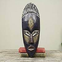 Ghanaian wood mask, 'Densu Priest' - African Wood Mask