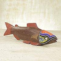Beaded wood sculpture Tribal Salmon Ghana