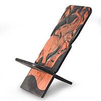 Wood lazy chair, 'Elephant Acrobatics' - Fair Trade Wood Lazy Chair