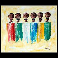 'Pot Ladies' - African Acrylic Painting