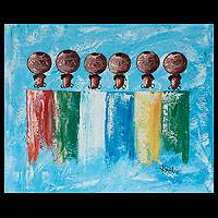 'Pot Ladies II' - Original African Cultural Painting
