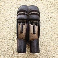 Ivoirian wood mask, 'Kran Twins' - Ivoirian wood mask