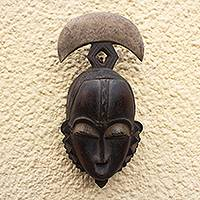 Ivoirian wood mask, 'Yoari Moon' - Handcrafted Ivory Coast Wood Mask