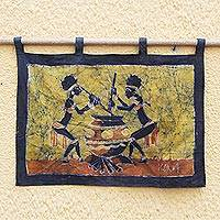 Batik wall hanging, 'Pito Beer' - Batik wall hanging