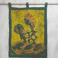 Batik wall hanging, 'Pot Lady' - Batik wall hanging
