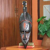 Ghanaian wood mask, 'Attracting Love Bird' - African wood mask