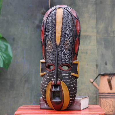 Ghanaian wood mask, 'Akan Beauty' - Hand Made African Wood Mask