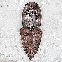 Ghanaian wood mask, 'Successor' - Hand Made African Wood Mask