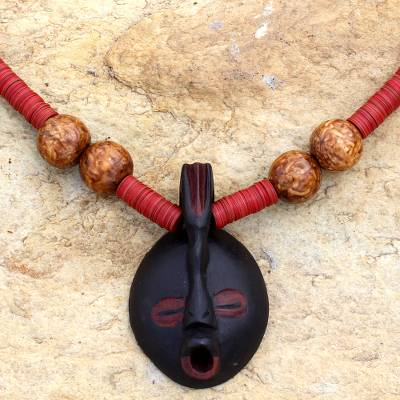 Wood pendant necklace, 'Ohemaa' - African Wood Beaded Pendant Necklace