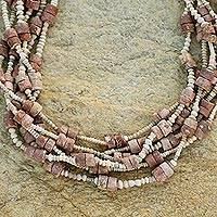 Bauxite and ceramic beaded necklace, 'Blessing' - Bauxite and ceramic beaded necklace