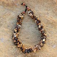 Agate and tiger's eye beaded necklace, 'Beautiful Life' (Ghana)