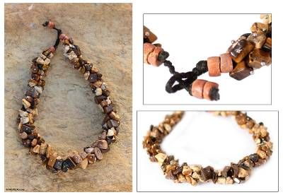 Agate and tiger's eye beaded necklace, 'Beautiful Life' - Unique Bauxite and Tiger's Eye Beaded Necklace