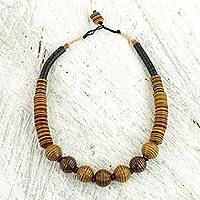 Bauxite and wood beaded necklace, 'Kente Heritage' - Bauxite and Wood African Tribal Style Beaded Necklace