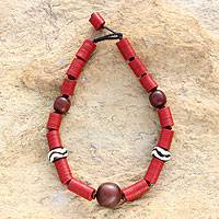 Bone and resin beaded necklace, 'Blessed for Generations' - Bone and resin beaded necklace