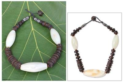 Agate beaded necklace, 'Adom Wo Wim' - Agate beaded necklace