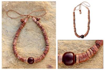 Bauxite and resin beaded necklace, Fertile Ground