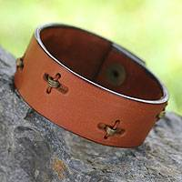 Men's leather wristband bracelet, 'Hide and Seek in Tan' - Men's leather wristband bracelet