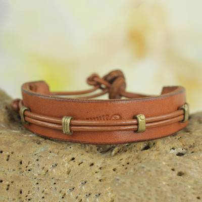 Men's leather wristband bracelet, 'Stand Alone in Tan' - Men's Hand Crafted Leather Wristband Bracelet from Africa