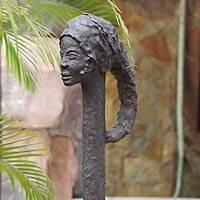 Fiberglass sculpture, 'Ghanaian Queen Mother' - Fiberglass sculpture
