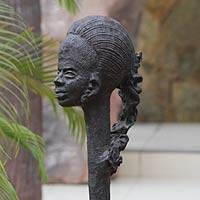 Fiberglass sculpture, 'Ghanaian Beauty' - Fiberglass sculpture