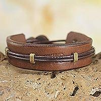 Men's leather wristband bracelet, 'Stand Alone in Brown'
