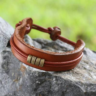Men's leather wristband bracelet, 'Stand Together in Tan' - Men's African Leather Wristband Bracelet