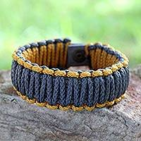 Men's wristband bracelet, 'Amina in Golden Gray' - Men's Rope Wristband Bracelet