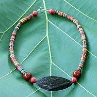 Coconut shell and horn beaded necklace, 'Rainbow Delight' - Unique Coconut Shell Beaded Necklace