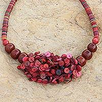 Horn beaded necklace, 'Vivid Sunset' - Recycled Beaded Necklace from Africa