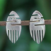 Sterling silver button earrings, 'African Initiative' - Handcrafted Sterling Silver Button Earrings from Africa