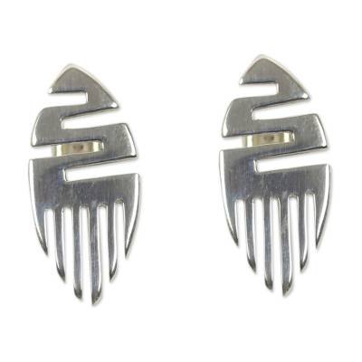 Handcrafted Sterling Silver Button Earrings from Africa