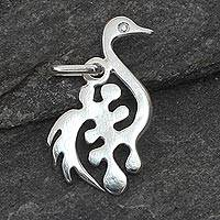 Sterling silver pendant, 'New Adinkra' - Handmade Sterling Silver Bird Pendant from Africa