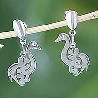 Sterling silver dangle earrings, 'New Adinkra' - Unique Sterling Silver Dangle Earrings
