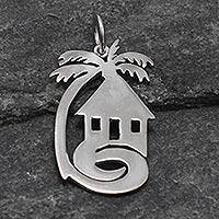 Sterling silver pendant, 'My African Home' - Sterling silver pendant