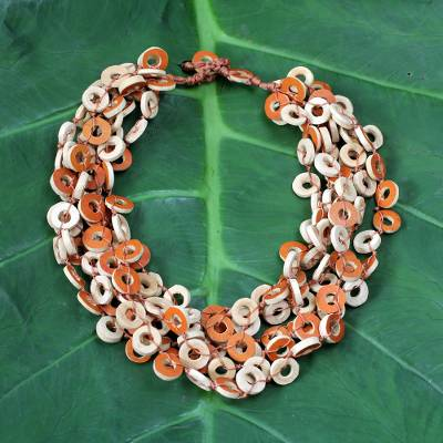Dried calabash multi-strand necklace, Tropical Fun