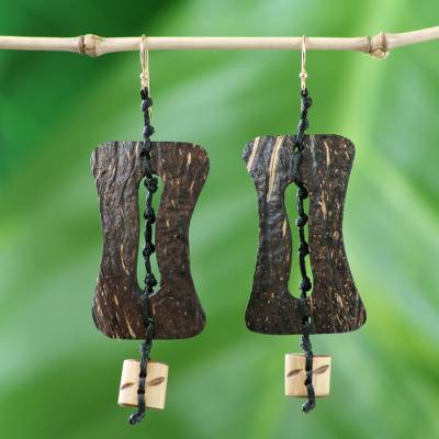 Coconut shell and bamboo dangle earrings, 'Medieval Nature' - Handmade Coconut Shell Dangle Earrings