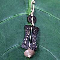 Men's coconut shell necklace, 'Traveler' - Men's Coconut Shell Pendant Necklace