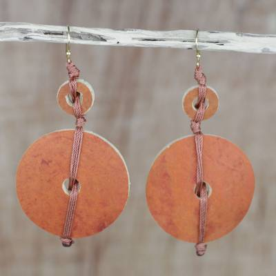Dried calabash dangle earrings, Tropical Fun